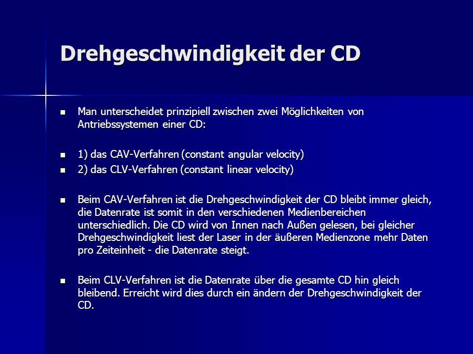 Drehgeschwindigkeit der CD Man unterscheidet prinzipiell zwischen zwei Möglichkeiten von Antriebssystemen einer CD: Man unterscheidet prinzipiell zwis