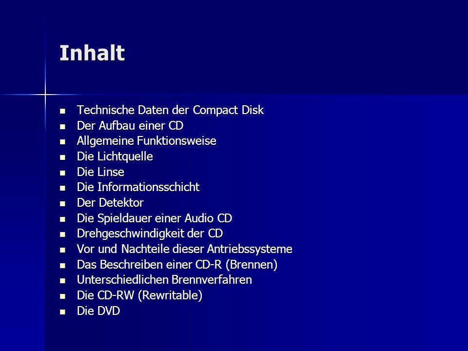 Inhalt Technische Daten der Compact Disk Technische Daten der Compact Disk Der Aufbau einer CD Der Aufbau einer CD Allgemeine Funktionsweise Allgemein