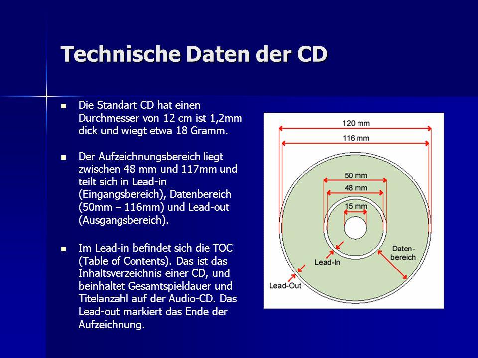 Technische Daten der CD Die Standart CD hat einen Durchmesser von 12 cm ist 1,2mm dick und wiegt etwa 18 Gramm. Der Aufzeichnungsbereich liegt zwische