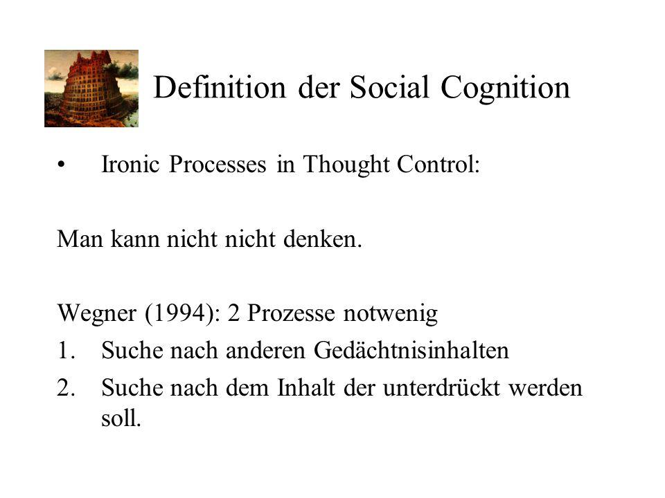 Definition der Social Cognition Ironic Processes in Thought Control: Man kann nicht nicht denken. Wegner (1994): 2 Prozesse notwenig 1.Suche nach ande