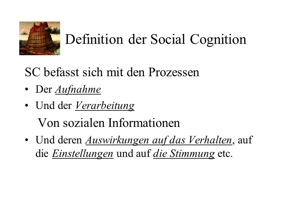 Definition der Social Cognition SC befasst sich mit den Prozessen Der Aufnahme Und der Verarbeitung Von sozialen Informationen Und deren Auswirkungen