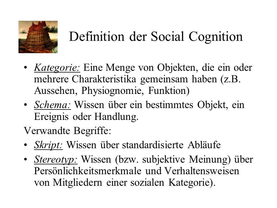 Kategorie: Eine Menge von Objekten, die ein oder mehrere Charakteristika gemeinsam haben (z.B. Aussehen, Physiognomie, Funktion) Schema: Wissen über e