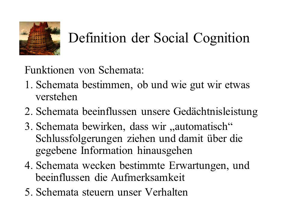 Definition der Social Cognition Funktionen von Schemata: 1. Schemata bestimmen, ob und wie gut wir etwas verstehen 2. Schemata beeinflussen unsere Ged