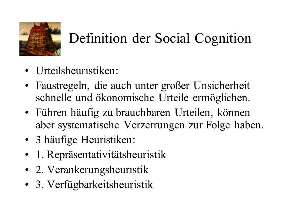 Definition der Social Cognition Urteilsheuristiken: Faustregeln, die auch unter großer Unsicherheit schnelle und ökonomische Urteile ermöglichen. Führ