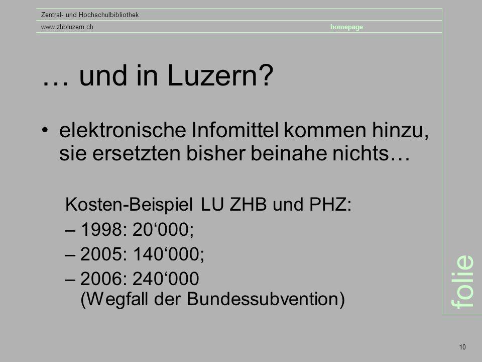 folie Zentral- und Hochschulbibliothek www.zhbluzern.chhomepage 10 … und in Luzern.