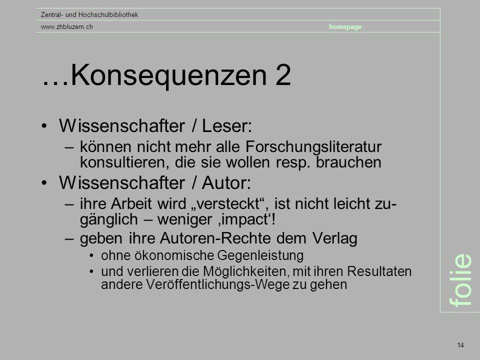 folie Zentral- und Hochschulbibliothek www.zhbluzern.chhomepage 14 …Konsequenzen 2 Wissenschafter / Leser: –können nicht mehr alle Forschungsliteratur konsultieren, die sie wollen resp.