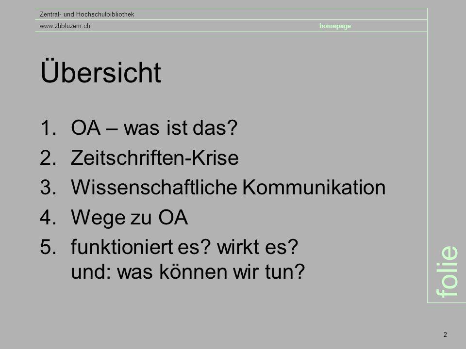 folie Zentral- und Hochschulbibliothek www.zhbluzern.chhomepage 2 Übersicht 1.OA – was ist das.