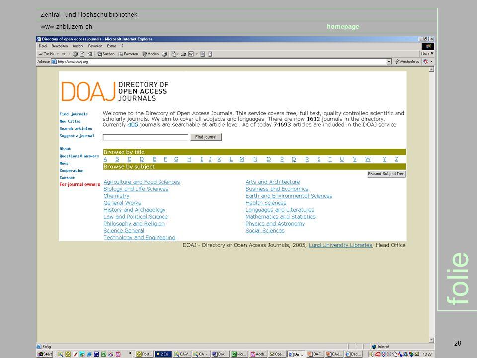 folie Zentral- und Hochschulbibliothek www.zhbluzern.chhomepage 28