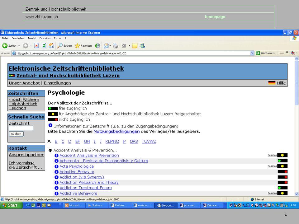 folie Zentral- und Hochschulbibliothek www.zhbluzern.chhomepage 4
