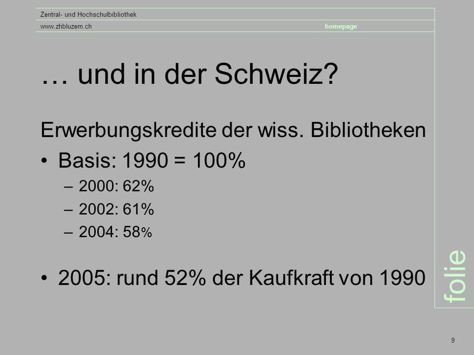 folie Zentral- und Hochschulbibliothek www.zhbluzern.chhomepage 9 … und in der Schweiz.