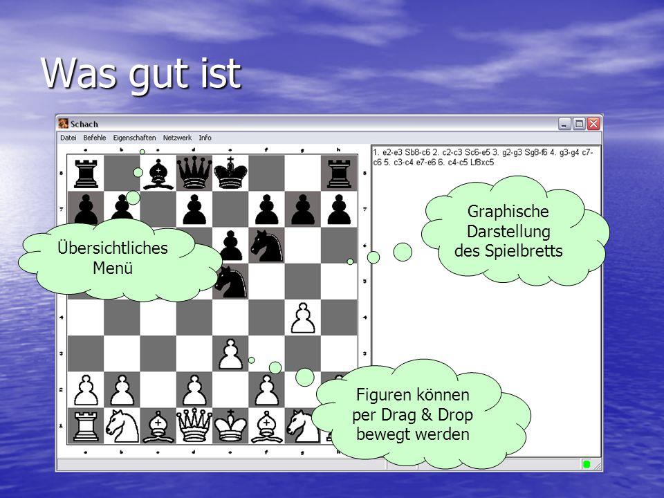 Was gut ist Graphische Darstellung des Spielbretts Übersichtliches Menü Figuren können per Drag & Drop bewegt werden