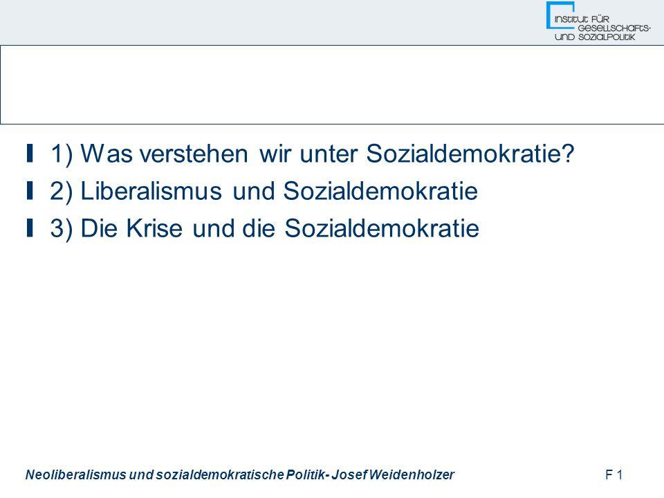 F 1Neoliberalismus und sozialdemokratische Politik- Josef Weidenholzer I 1) Was verstehen wir unter Sozialdemokratie.