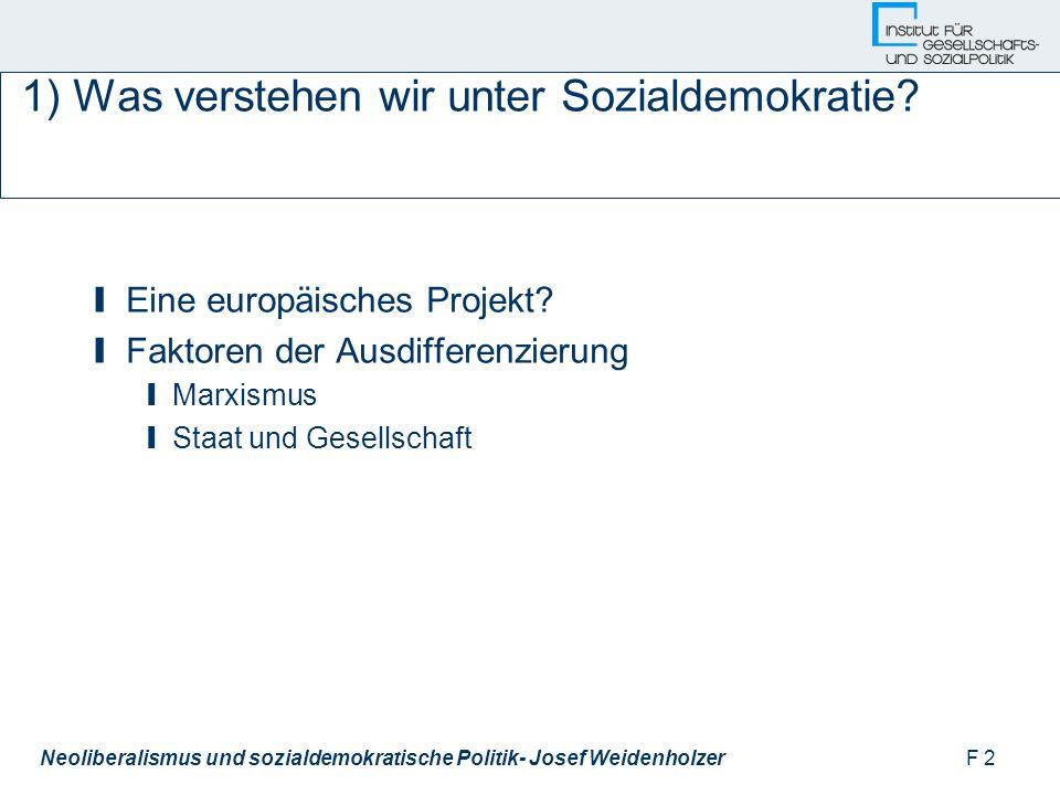F 2Neoliberalismus und sozialdemokratische Politik- Josef Weidenholzer 1) Was verstehen wir unter Sozialdemokratie.