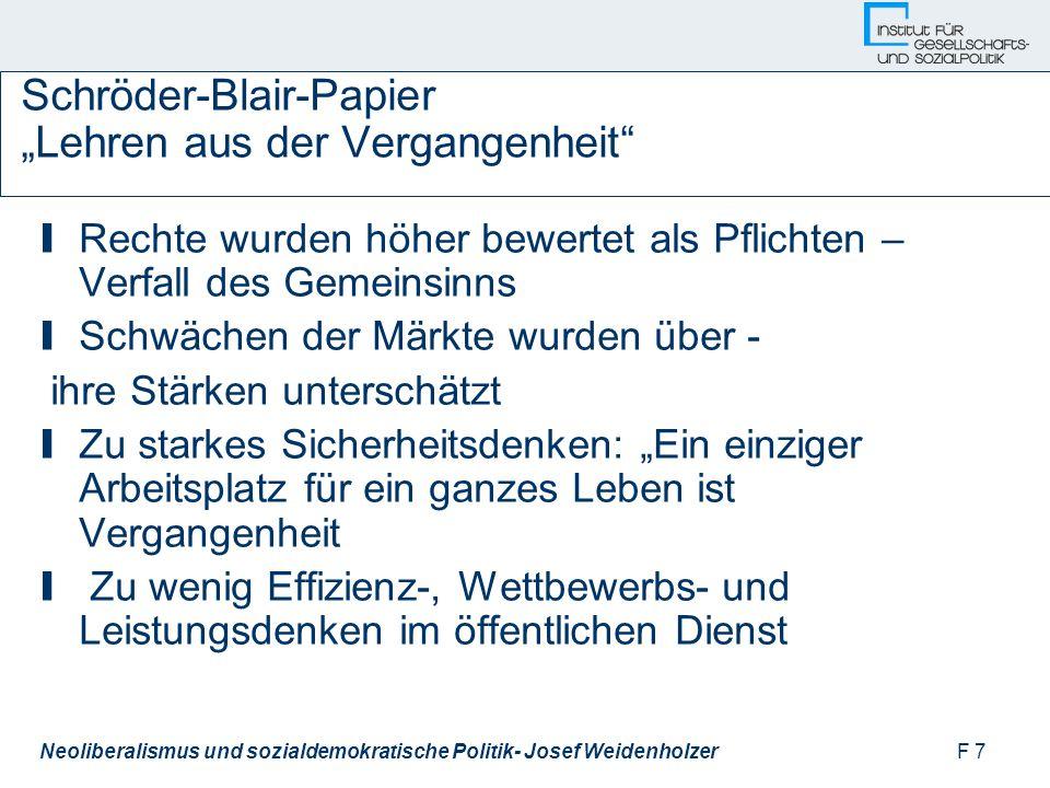 """F 7Neoliberalismus und sozialdemokratische Politik- Josef Weidenholzer Schröder-Blair-Papier """"Lehren aus der Vergangenheit I Rechte wurden höher bewertet als Pflichten – Verfall des Gemeinsinns I Schwächen der Märkte wurden über - ihre Stärken unterschätzt I Zu starkes Sicherheitsdenken: """"Ein einziger Arbeitsplatz für ein ganzes Leben ist Vergangenheit I Zu wenig Effizienz-, Wettbewerbs- und Leistungsdenken im öffentlichen Dienst"""
