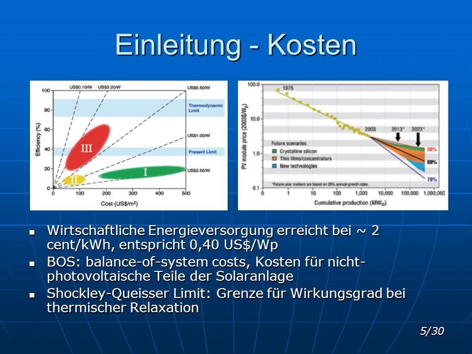 5/30 Einleitung - Kosten Wirtschaftliche Energieversorgung erreicht bei ~ 2 cent/kWh, entspricht 0,40 US$/Wp Wirtschaftliche Energieversorgung erreich