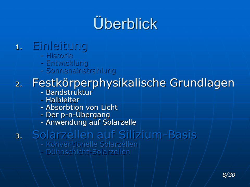 8/30 Überblick 1. Einleitung - Historie - Entwicklung - Sonneneinstrahlung 2. Festkörperphysikalische Grundlagen - Bandstruktur - Halbleiter - Absorbt