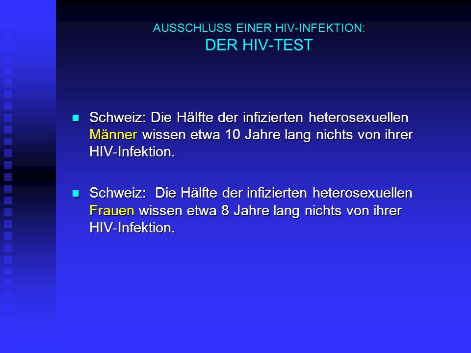 AUSSCHLUSS EINER HIV-INFEKTION: DER HIV-TEST Schweiz: Die Hälfte der infizierten heterosexuellen Männer wissen etwa 10 Jahre lang nichts von ihrer HIV-Infektion.