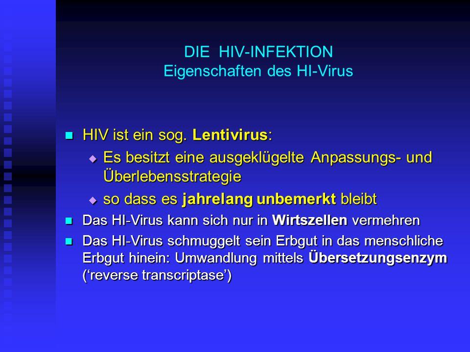 HIV-INFEKTION: KRANKHEITSVERLAUF Die klassische Stadieneinteilung ist heute – dank der antiviralen Therapie – selten zu beobachten Stadium 2: jahrelange stumme Phase (Latenz) Stadium 2: jahrelange stumme Phase (Latenz)  durchschnittlich 10 Jahre lang  subjektives Gefühl: gesund  objektiv: Die Viren vermehren sich weiter in den Wirtszellen (LK)  fortschreitende Schädigung des Abwehrsystems  Messparameter für den Schädigungsgrad: Abnahme der 'Helferzellen' (T4-Lymphocyten)