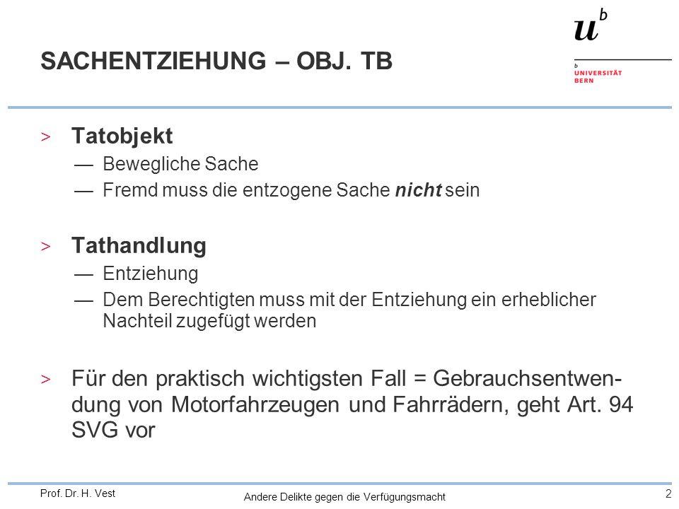 Andere Delikte gegen die Verfügungsmacht 2 Prof. Dr. H. Vest SACHENTZIEHUNG – OBJ. TB > Tatobjekt —Bewegliche Sache —Fremd muss die entzogene Sache ni