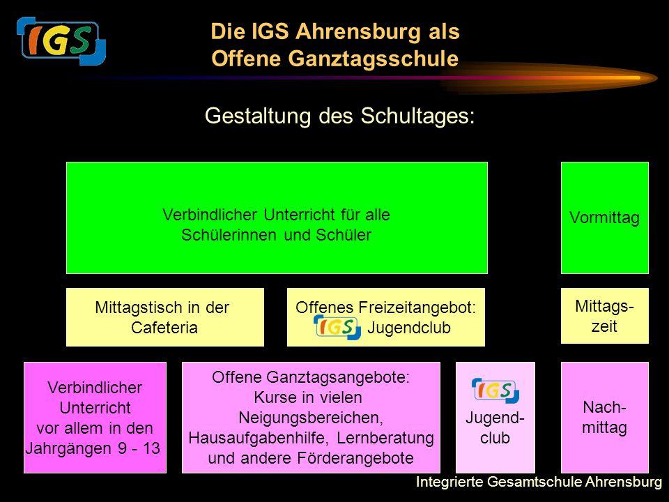 Integrierte Gesamtschule Ahrensburg Die IGS Ahrensburg als Offene Ganztagsschule Gestaltung des Schultages: Verbindlicher Unterricht für alle Schüleri