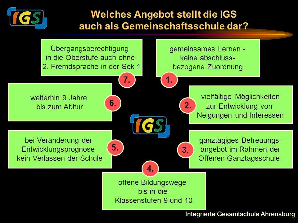 Integrierte Gesamtschule Ahrensburg Welches Angebot stellt die IGS auch als Gemeinschaftsschule dar? gemeinsames Lernen - keine abschluss- bezogene Zu