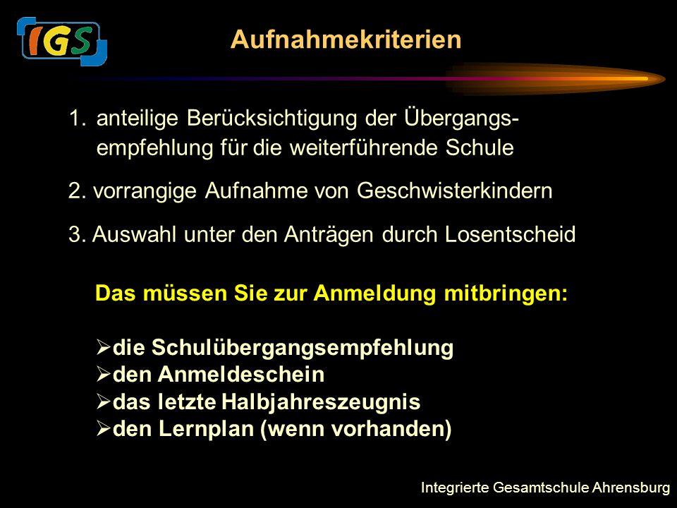 Integrierte Gesamtschule Ahrensburg Aufnahmekriterien 1.anteilige Berücksichtigung der Übergangs- empfehlung für die weiterführende Schule 2.