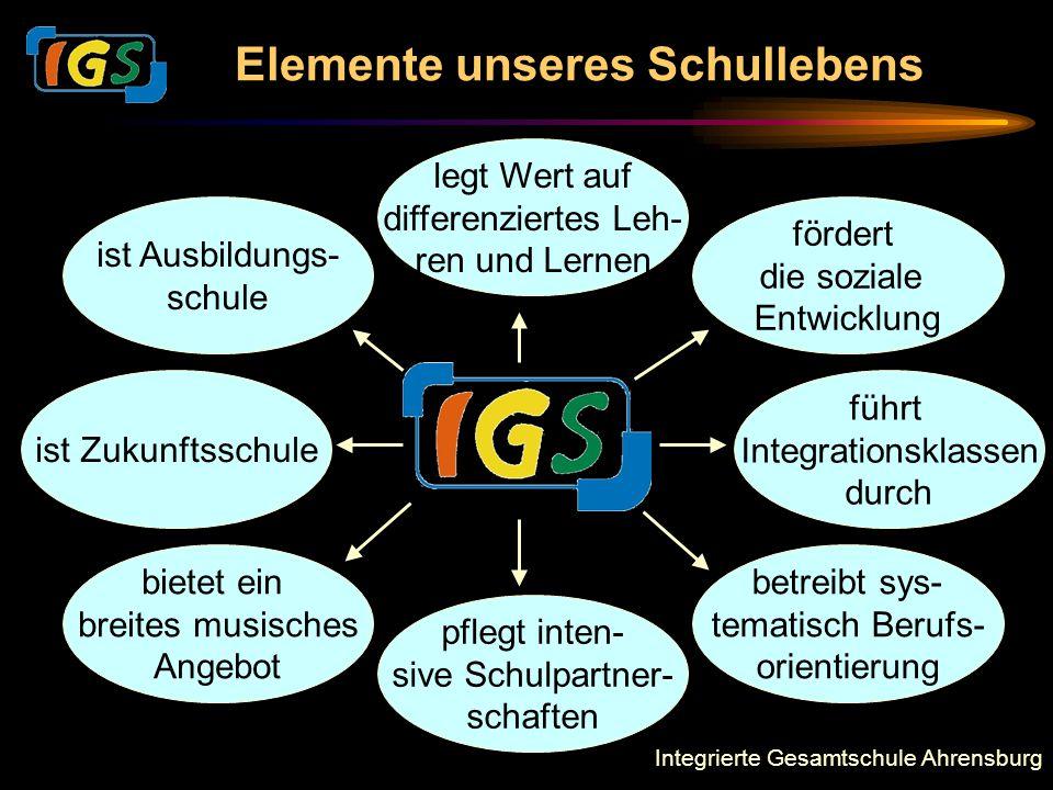 Integrierte Gesamtschule Ahrensburg Elemente unseres Schullebens ist Zukunftsschule führt Integrationsklassen durch fördert die soziale Entwicklung pf