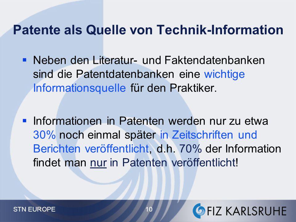 """Die """"Gebäude"""": Patent- Datenbanken auf STN The Derwent Castle: World Patents Index, DPCI, DGENE... Der INPADOC-Tower Das Deutsche Haus: PATDPA Die CAS"""