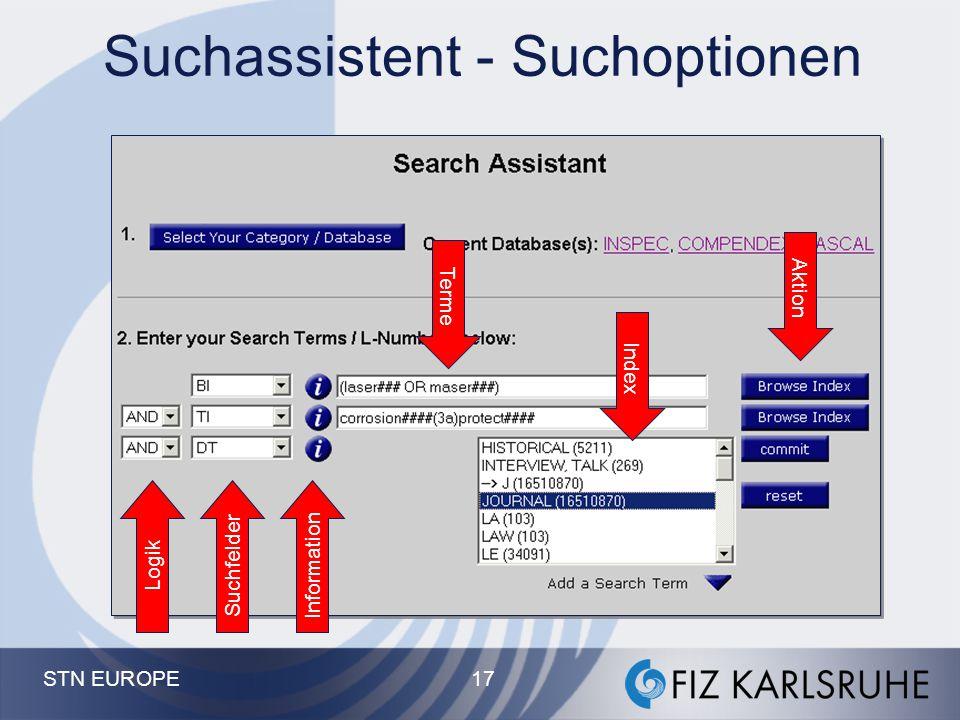 STN EUROPE 16 STN on the Web - Online Bildschirm Kommando-basierte Recherche für Profis. Zusätzliche Links zu anderen Optionen von STN z.B. Volltext ü