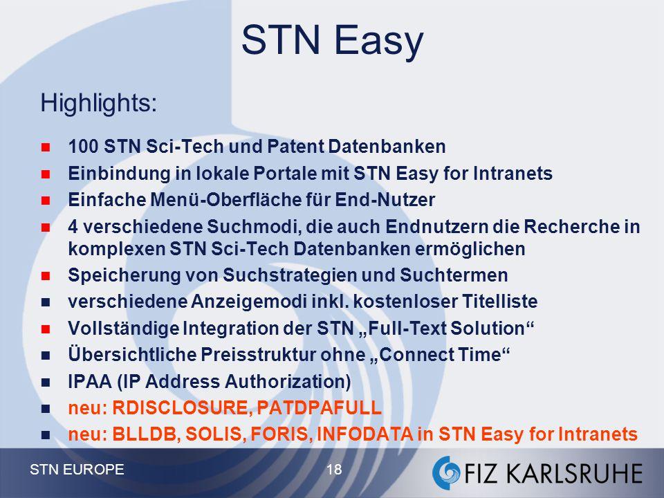 STN EUROPE 17 Suchassistent - Suchoptionen I n f o r m a t i o n I n d e x S u c h f e l d e r T e r m e L o g i k A k t i o n
