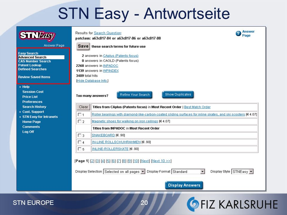 STN EUROPE 19 STN Easy - Expertensuche