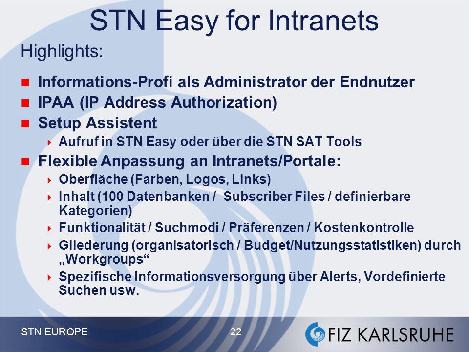 STN EUROPE 21 STN Easy - Dokument