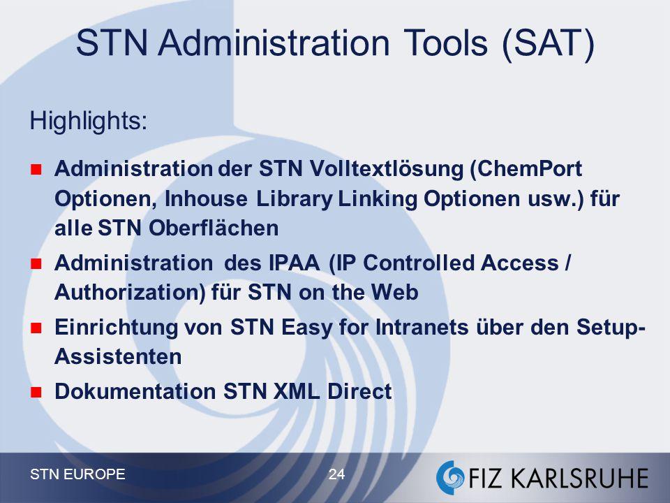 STN EUROPE 23 STN Easy for Intranets - Beispiel einer customized STN Easy Suchmaske Links Font / Farben Suchmodi Vordefinierte Suchen Logo SDI = Alerts / Posted Results Eigene Kate- gorien Kostenstellen