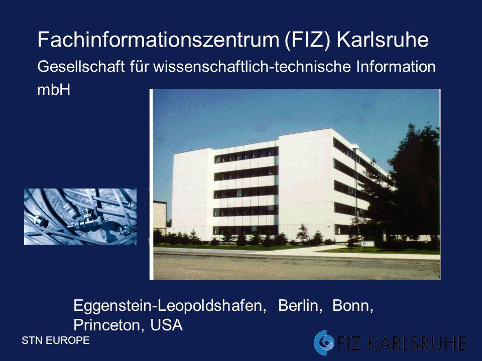 STN EUROPE 2  FIZ Karlsruhe und STN International –Datenbanken und Funktionalitäten –Oberflächen –Angebote, Preise, Konditionen –Volltextlösungen –Ne