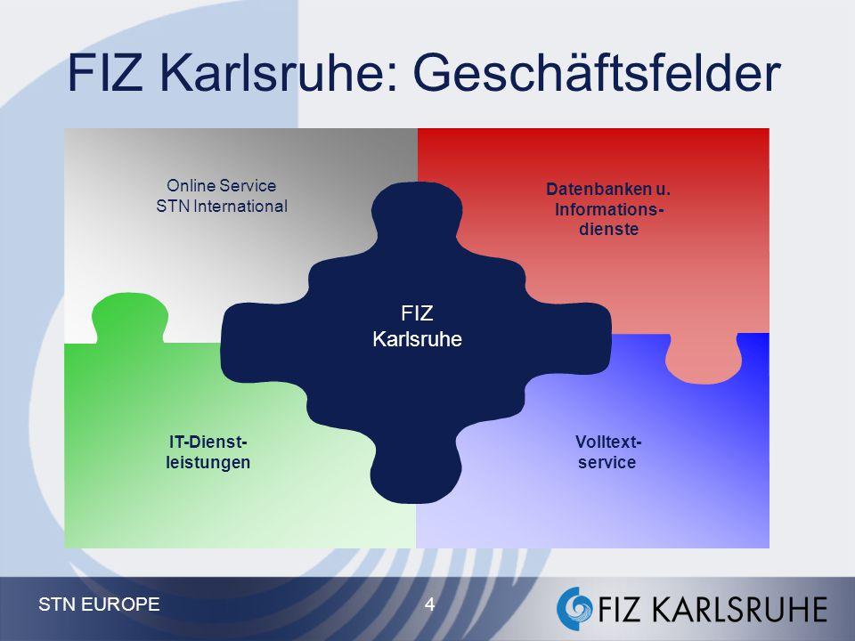 STN EUROPE Fachinformationszentrum (FIZ) Karlsruhe Gesellschaft für wissenschaftlich-technische Information mbH Eggenstein-Leopoldshafen, Berlin, Bonn, Princeton, USA