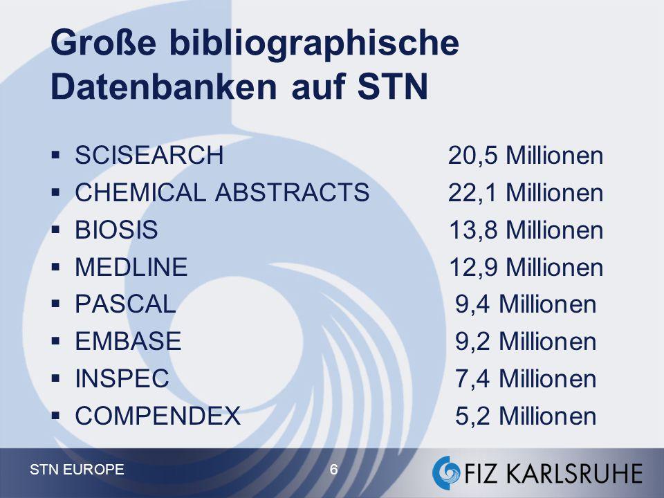STN EUROPE 5 Patente Chemie Ingenieurwissenschafte n Medizin Biowissenschaften Energie Materialwissenschaften Geowissenschaften Wirtschaft Pharmazie Physik Umwelt Mathematik etc etc.