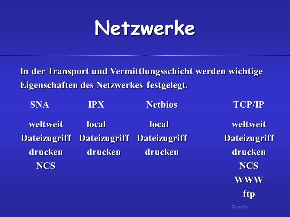 Netzwerke In der Transport und Vermittlungsschicht werden wichtige Eigenschaften des Netzwerkes festgelegt.