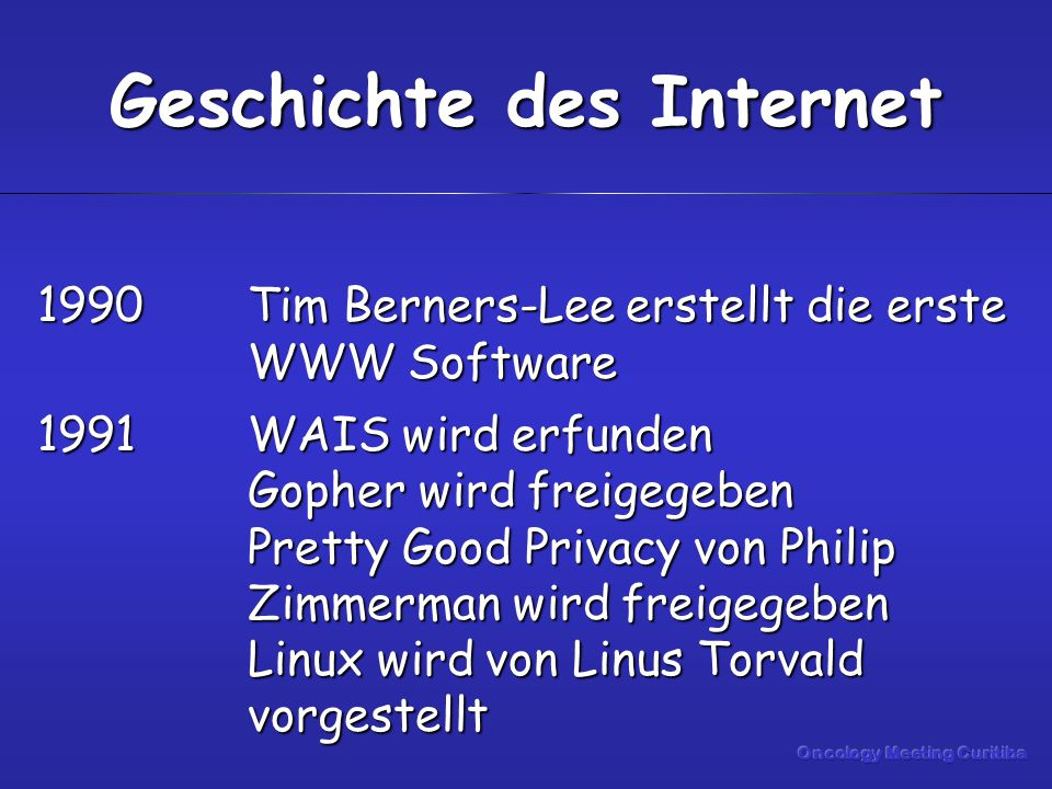 1990Tim Berners-Lee erstellt die erste WWW Software 1991WAIS wird erfunden Gopher wird freigegeben Pretty Good Privacy von Philip Zimmerman wird freigegeben Linux wird von Linus Torvald vorgestellt Geschichte des Internet