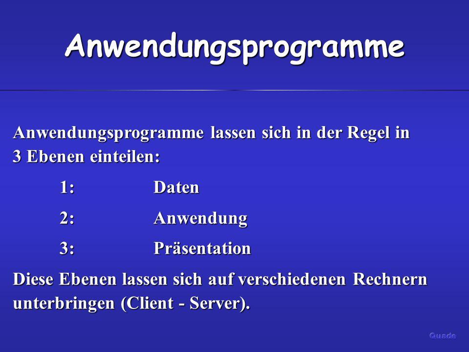 Anwendungsprogramme Anwendungsprogramme lassen sich in der Regel in 3 Ebenen einteilen: 1: Daten 2:Anwendung 3:Präsentation Diese Ebenen lassen sich auf verschiedenen Rechnern unterbringen (Client - Server).