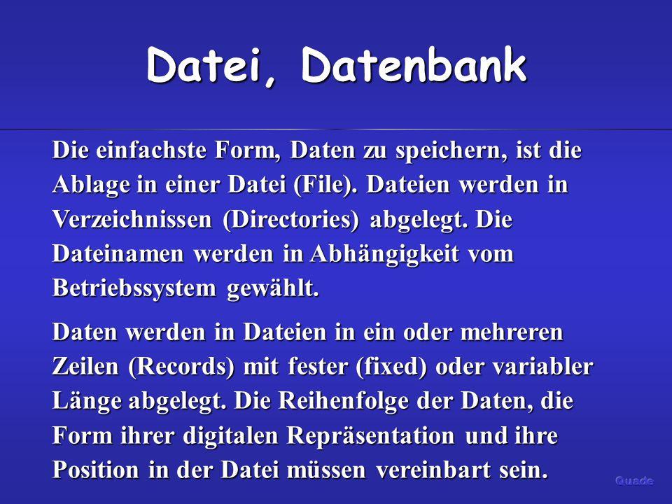 Datei, Datenbank Auch Datenbanken speichern Daten in Dateien.