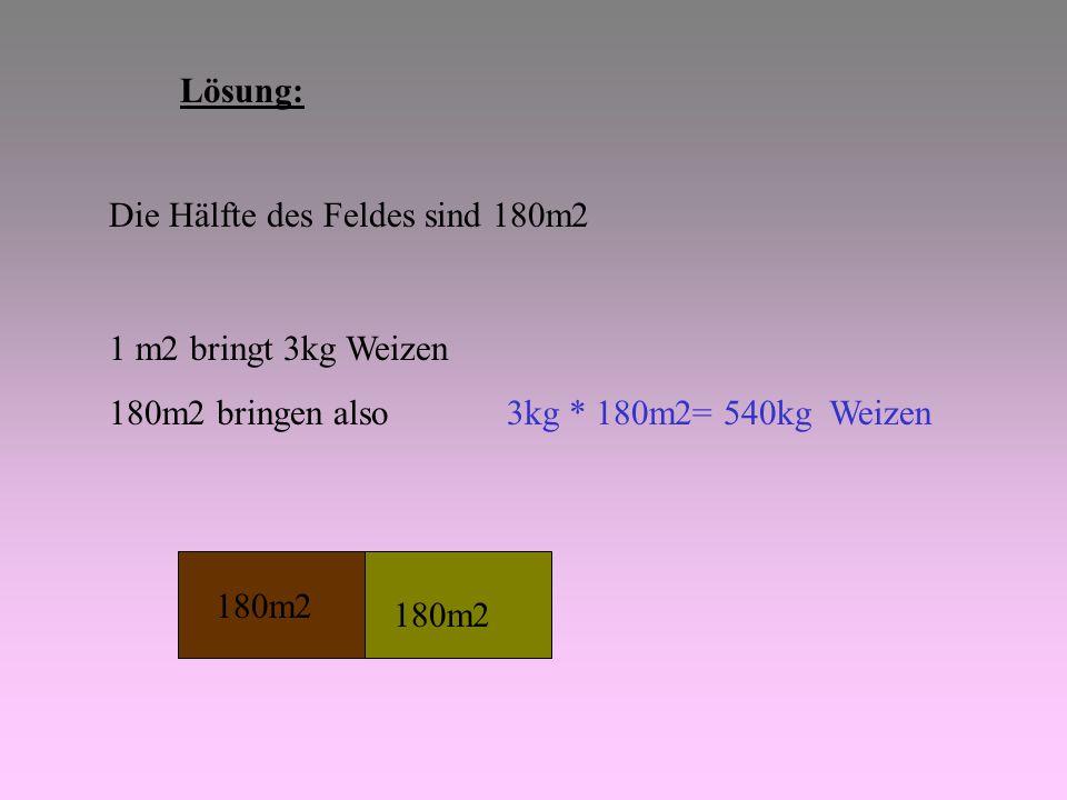 Lösung: Die Hälfte des Feldes sind 180m2 1 m2 bringt 3kg Weizen 180m2 bringen also 3kg * 180m2= 540kg Weizen 180m2