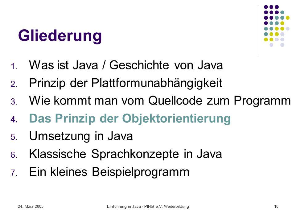 24. März 2005Einführung in Java - PING e.V. Weiterbildung10 Gliederung 1.