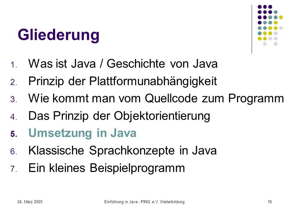 24. März 2005Einführung in Java - PING e.V. Weiterbildung16 Gliederung 1.
