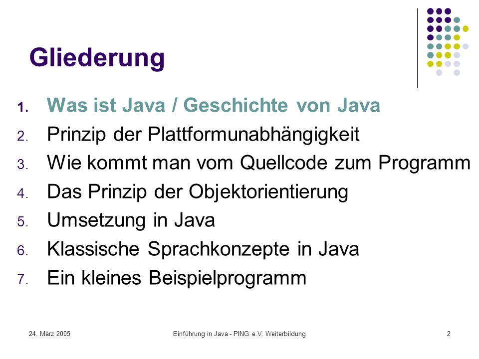 Einführung in Java - PING e.V. Weiterbildung2 Gliederung 1.