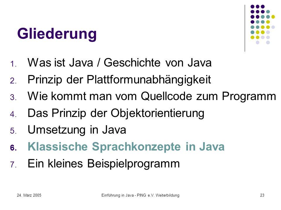 24. März 2005Einführung in Java - PING e.V. Weiterbildung23 Gliederung 1.