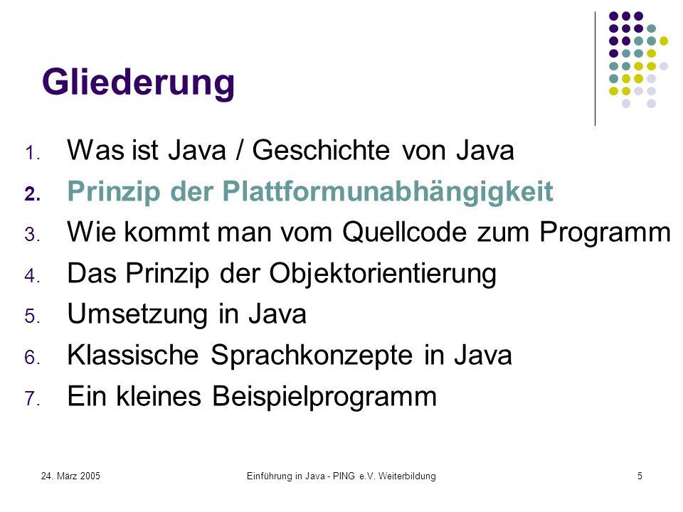 24. März 2005Einführung in Java - PING e.V. Weiterbildung5 Gliederung 1.