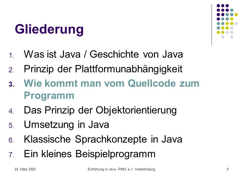 24. März 2005Einführung in Java - PING e.V. Weiterbildung8 Gliederung 1.