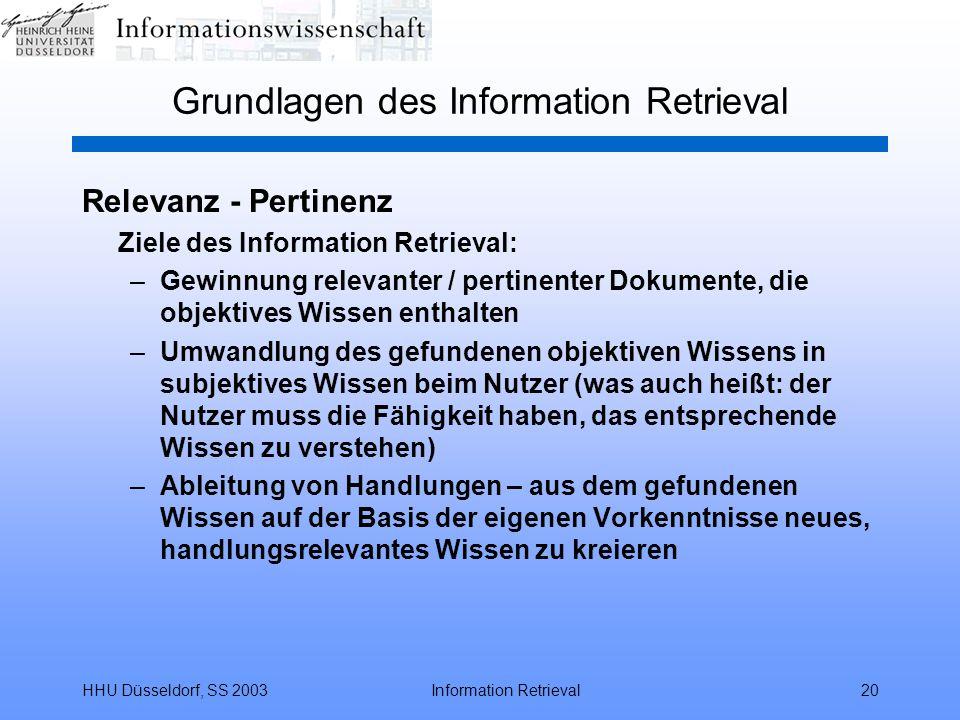 HHU Düsseldorf, SS 2003Information Retrieval20 Grundlagen des Information Retrieval Relevanz - Pertinenz Ziele des Information Retrieval: –Gewinnung r