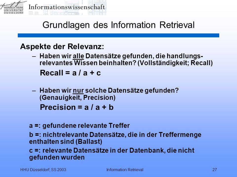 HHU Düsseldorf, SS 2003Information Retrieval27 Grundlagen des Information Retrieval Aspekte der Relevanz: –Haben wir alle Datensätze gefunden, die han