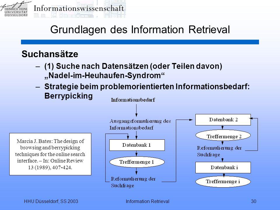 """HHU Düsseldorf, SS 2003Information Retrieval30 Grundlagen des Information Retrieval Suchansätze –(1) Suche nach Datensätzen (oder Teilen davon) """"Nadel-im-Heuhaufen-Syndrom –Strategie beim problemorientierten Informationsbedarf: Berrypicking Marcia J."""